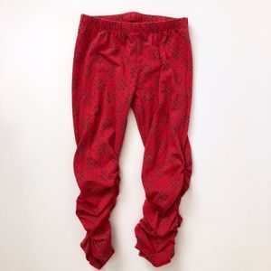 Girls Mustard Pie Red Black Print Leggings 2T